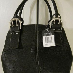 Tignanello Black Leather French Tote (NWT)